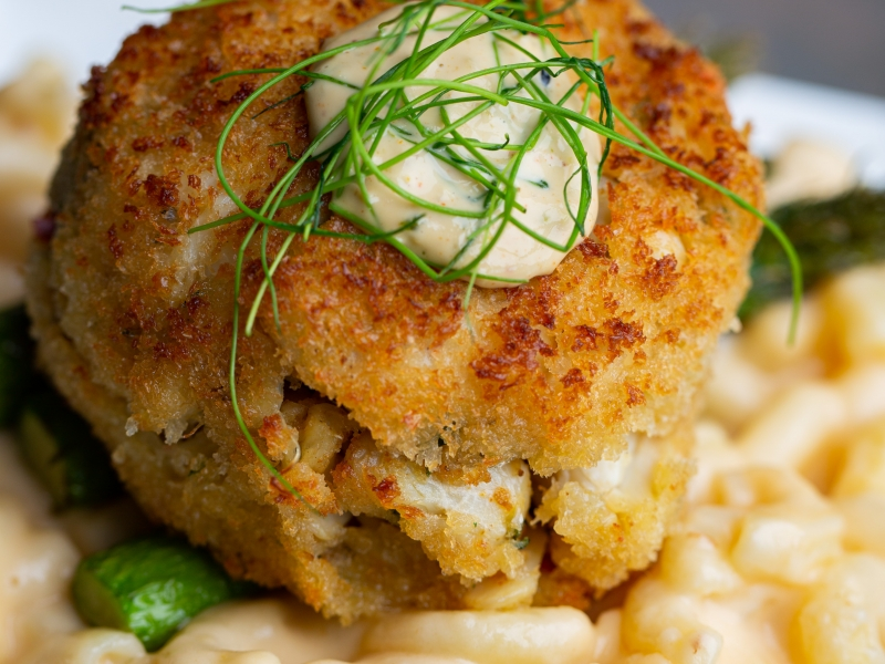 Jumbo Lump Crabcake over Southern Style Mac-n-Cheese!