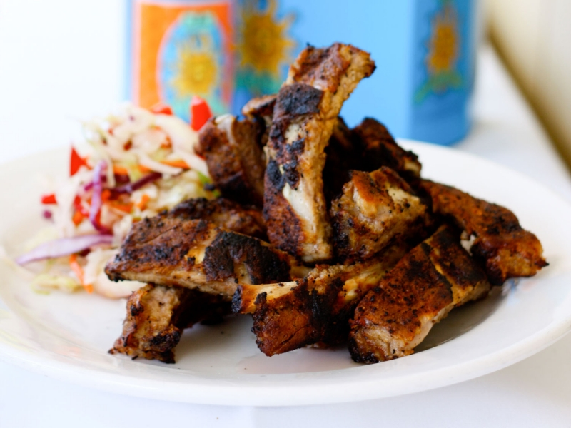 Baby back ribs with cole slaw is a signature for Steamers Catering.