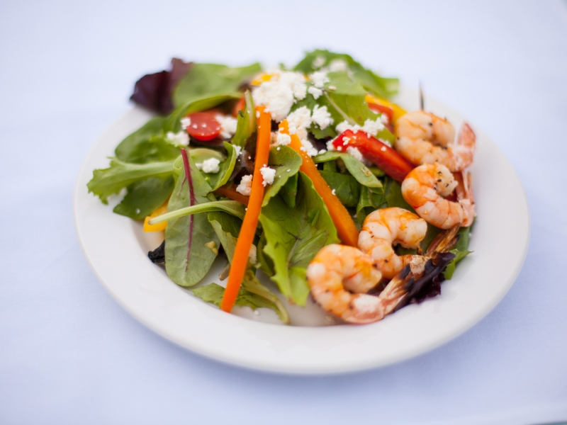 Fresh salad with delicious grilled shrimp. A Steamers Catering classic.