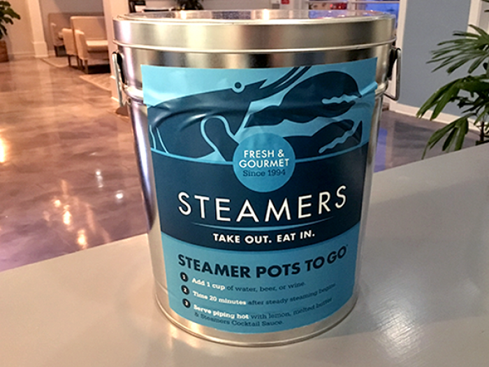 Our recently redesigned steamer pots have handles for easy handling.