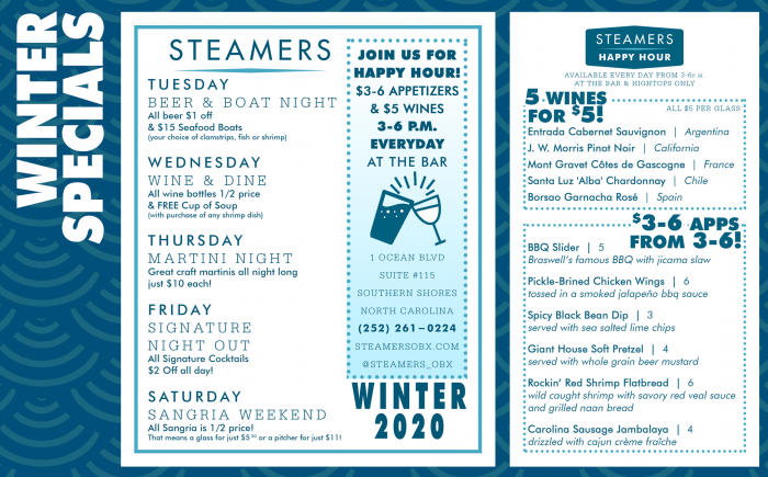 Winter Specials & Our $3-6 Appetizer Menu