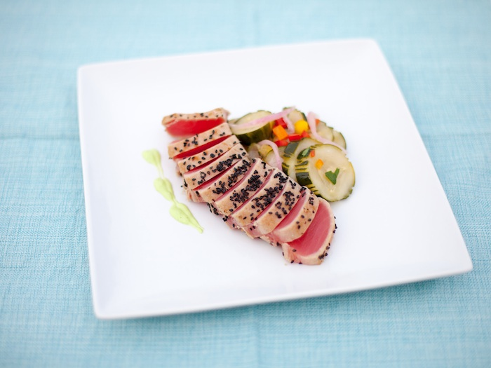 Seared Tuna with Cucumber Salad